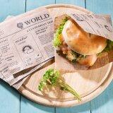 Snacktaschen aus Papier, Zeitungsoptik, 15 x 16 cm, braun