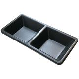 Melamin-Schale, 2-geteilt, schwarz, 13 x 6,5 x 2 cm