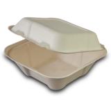 Burger-Box aus Zuckerrohr, 17 x 17 x 9,5 cm, weiß