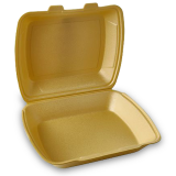 Menüboxen aus XPS, ungeteilt, gold, 24,5 x 21 x 7,5 cm